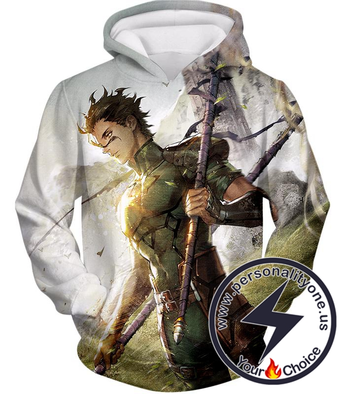 Fate Stay Night Very Cool Lancer Diarmuid Action White Hoodie