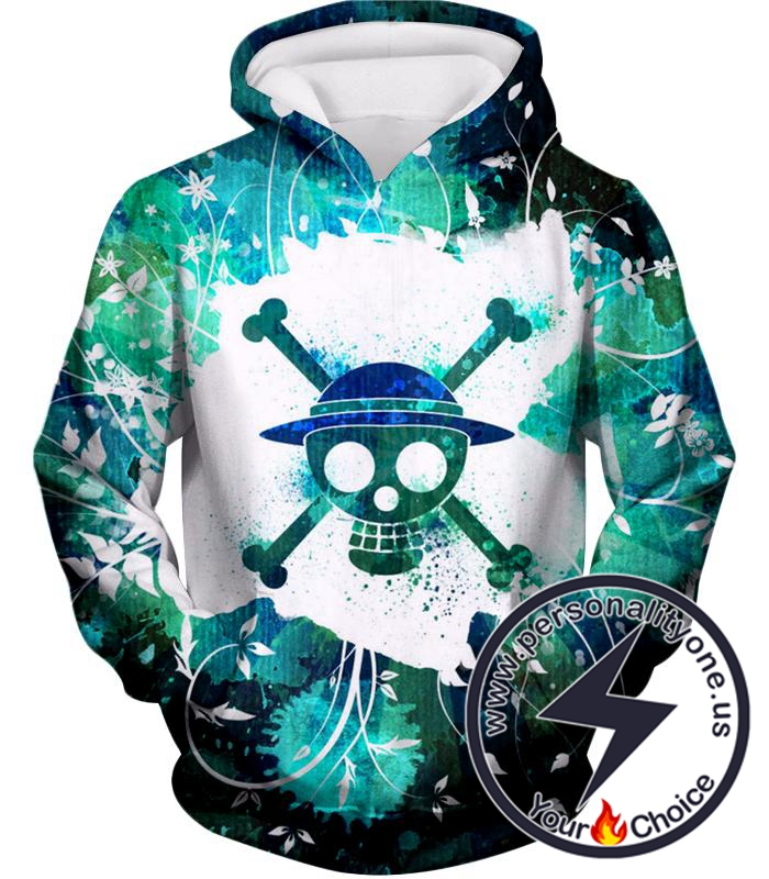 One Piece Cool Straw Hat Pirate Logo Psychedelic Print Hoodie